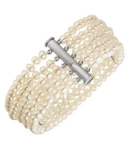 JOBO Parel armband met vijf rijen zoetwaterparels
