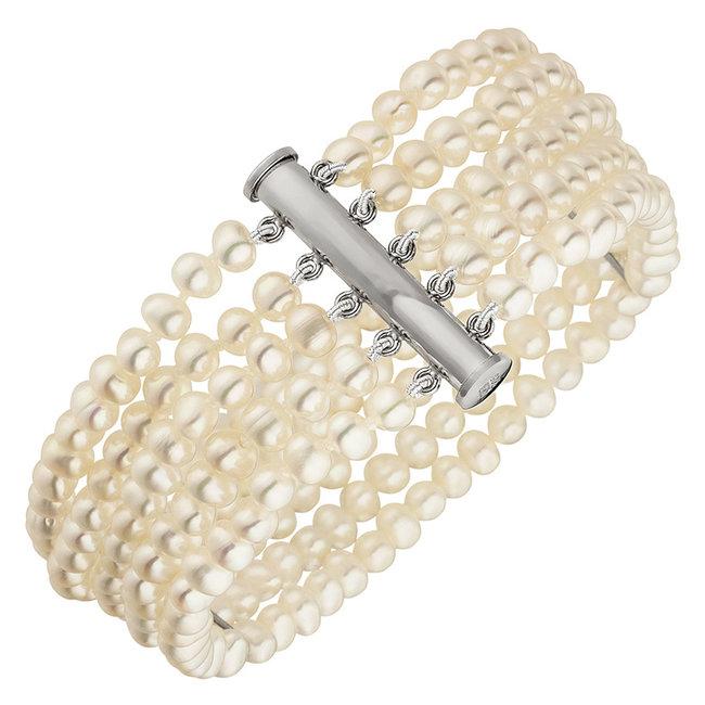 Parel armband met vijf rijen zoetwaterparels en zilveren sluiting