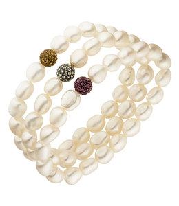 Aurora Patina Parel armband met drie rijen zoetwaterparels en kristal
