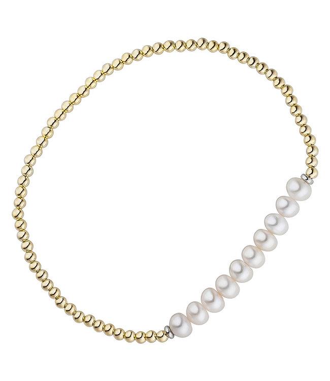 JOBO Vergulde zilveren armband met parels op elastiek