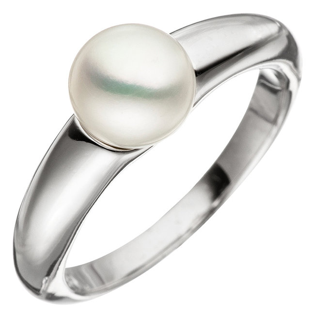 Silver pearl ring with pearl of approx. 7 mm diameter