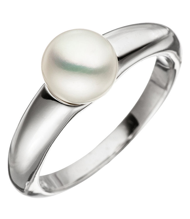 JOBO Silver pearl ring with pearl of approx. 7 mm diameter