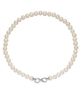 Aurora Patina Wit parel collier met zilveren infinity sluiting