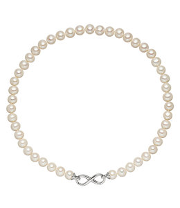 JOBO White pearl necklace with silver infinity clasp