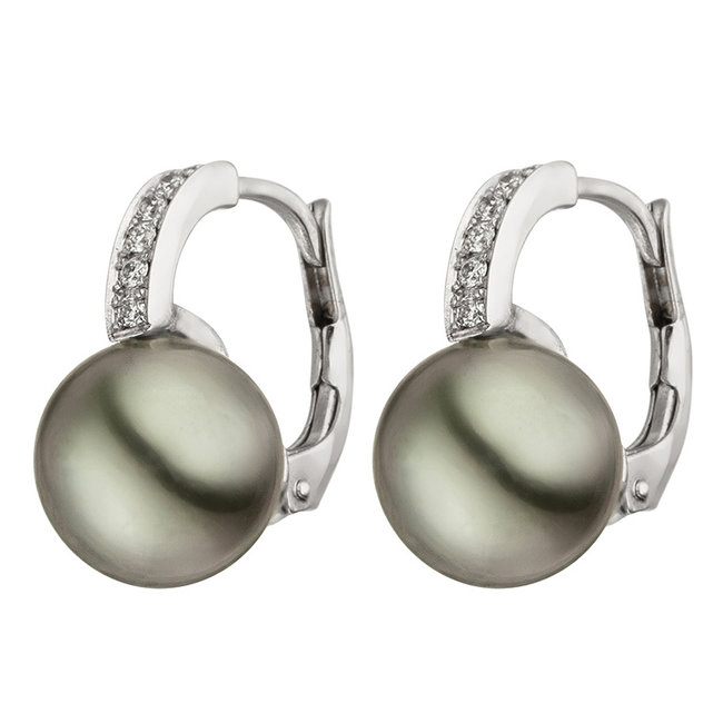 Aurora Patina White gold earrings with Tahiti pearls and diamonds