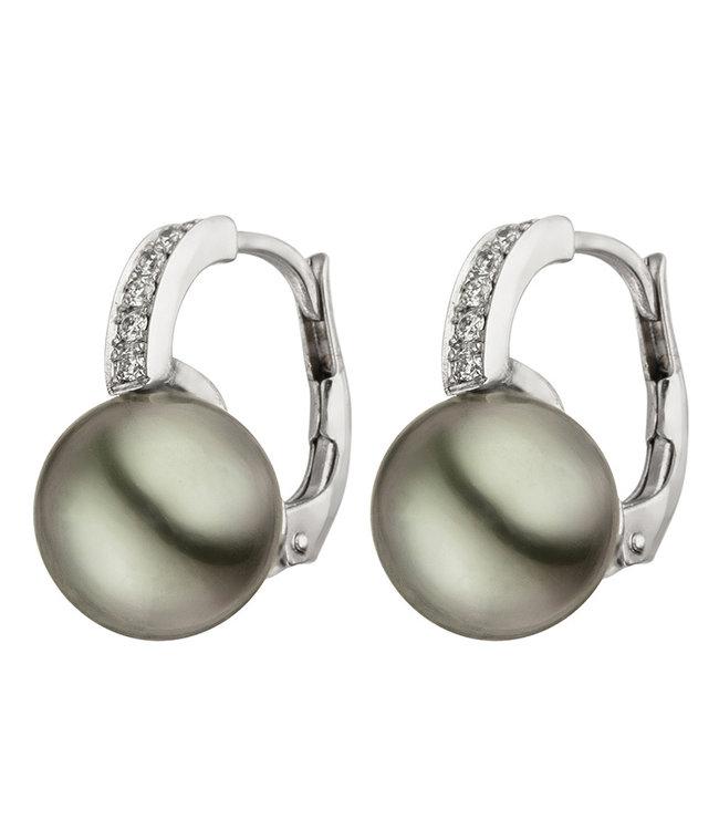 JOBO Wit gouden oorbellen 14 karaat (585) met 2 Tahiti parels en 12 briljanten