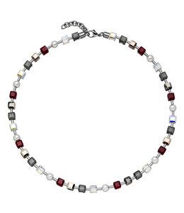 Aurora Patina Edelstahlhalskette mit Kristall und Perlen