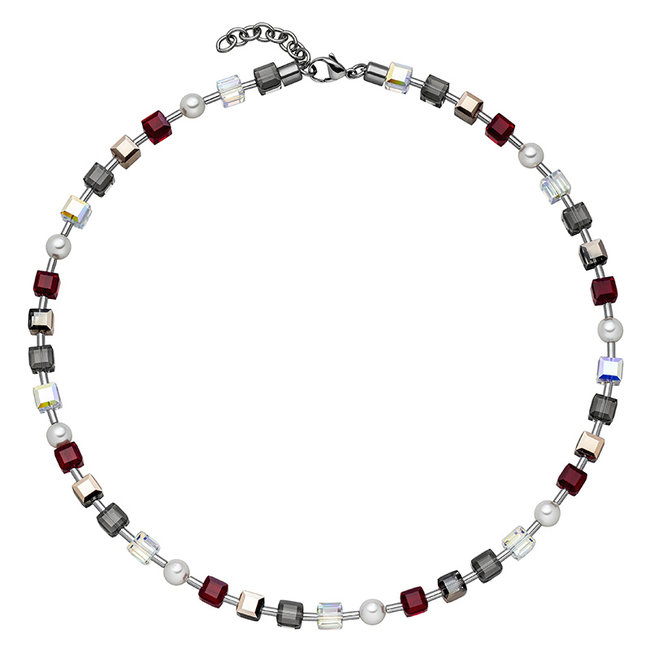 Stainless steel necklace with crystal and pearls 42 - 45 cm