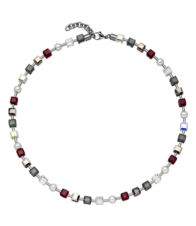 JOBO Stainless steel necklace with crystal and pearls 42 - 45 cm