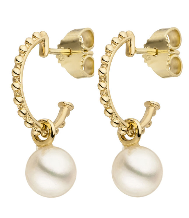 JOBO Golden earrings 14 carat (585)  with freshwater pearls  7 - 8 mm