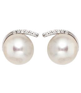 JOBO Wit gouden oorstekers met parels en 12 briljanten