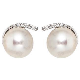 Aurora Patina Wit gouden oorstekers met parels en 12 briljanten