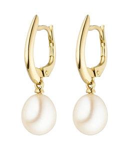 Aurora Patina Goldene Ohrhänger mit Süßwasser Perlen