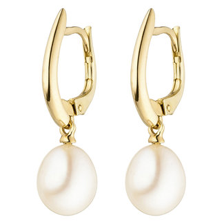 Gold earrings with freshwater pearls