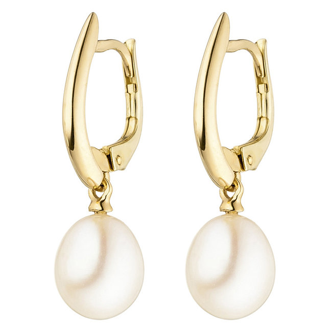 Gold earrings 14 carat with 2 cultivated freshwater pearls
