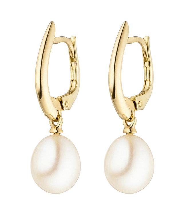 JOBO Goldene Ohrhänger 14 Karat (585) mit 2  Süßwasser Perlen