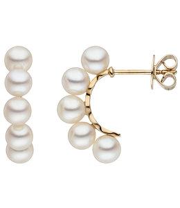 JOBO Gouden oorbellen met 10 zoetwater parels
