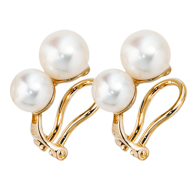 Gold earclips 14 carat with 4 fresh water pearls
