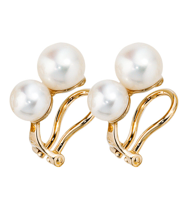 JOBO Gold earclips 14 carat with 4 fresh water pearls
