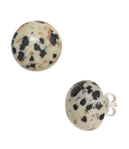 JOBO Zilveren oorstekers Dalmatiër jaspis ca. 12 mm