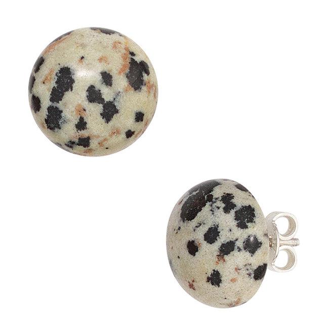 Zilveren oorstekers met Dalmatiër jaspis ca. 12 mm - Copy