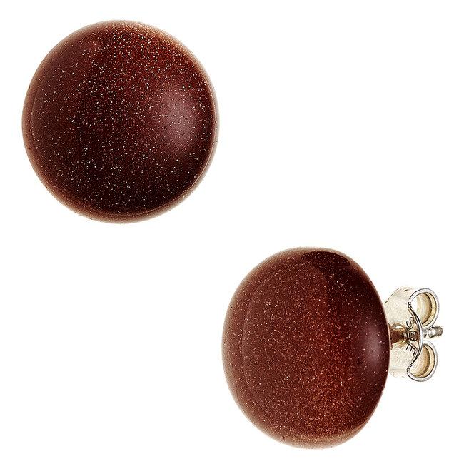 Zilveren oorstekers met goudsteen bruin ca. 12 mm