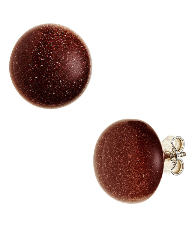 JOBO Sterling silver earstuds with goldstone brown approx. 12 mm