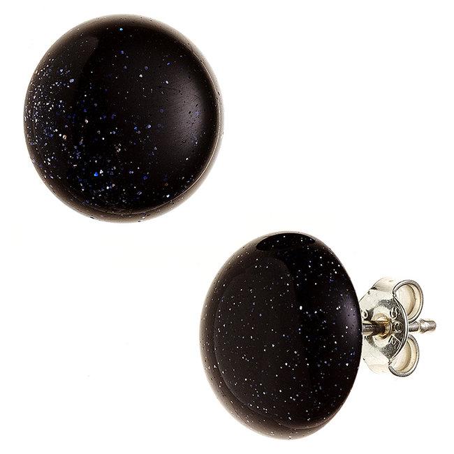Zilveren oorstekers met goudsteen blauw ca. 12 mm