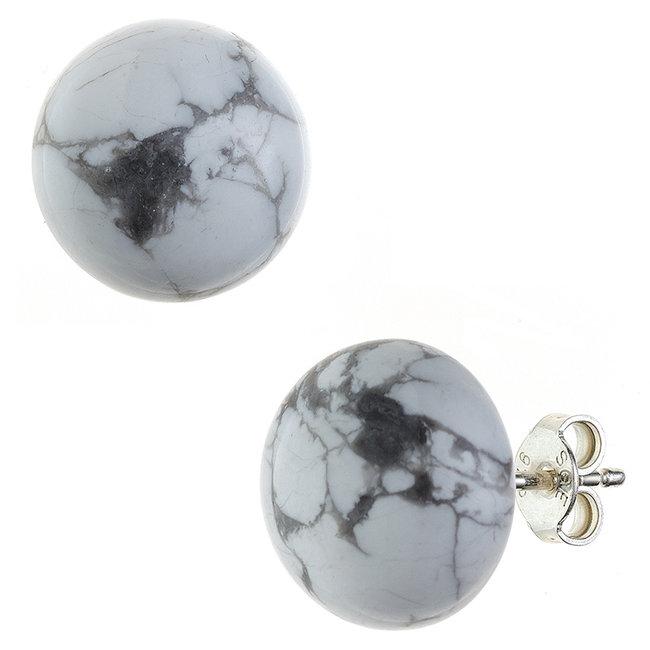 Zilveren oorstekers met Howliet  ca. 12 mm