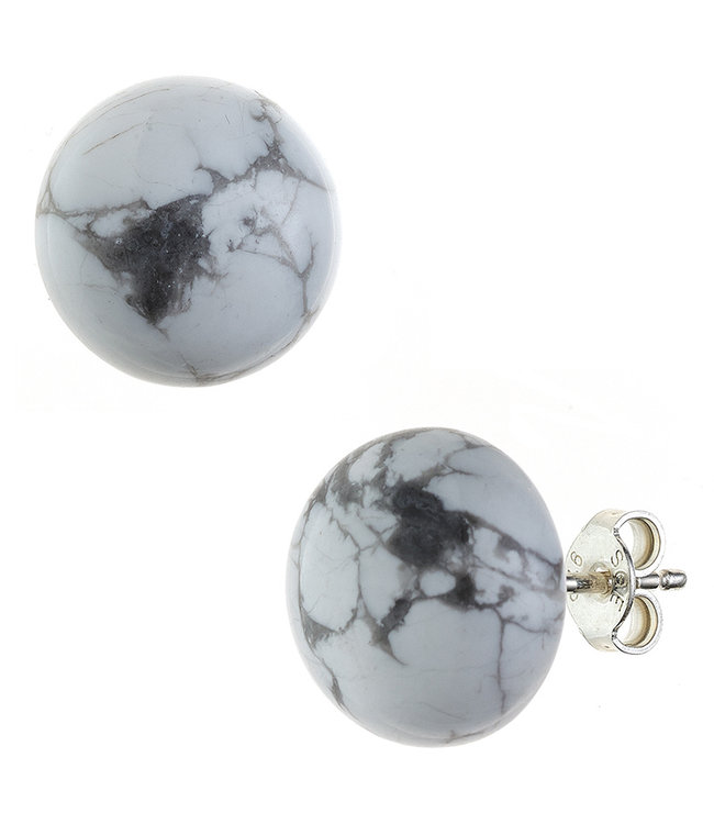JOBO Sterling silver earstuds with howlite approx. 12 mm