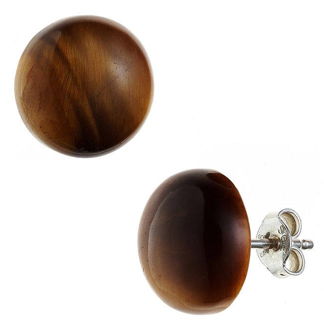 Zilveren oorstekers met bruine tijgeroog ca. 12 mm