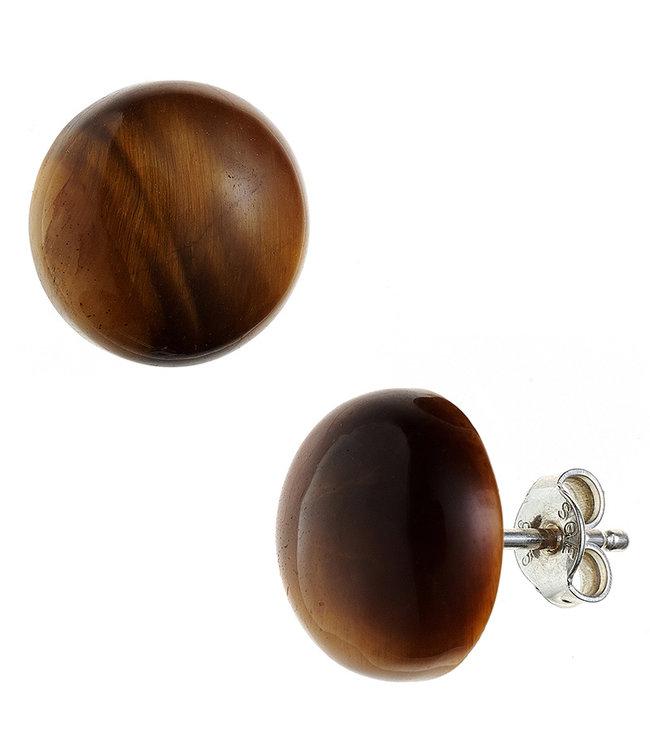 JOBO Zilveren oorstekers met bruine tijgeroog ca. 12 mm
