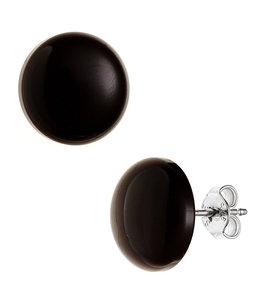 JOBO Zilveren oorstekers Onyx ca. 12 mm
