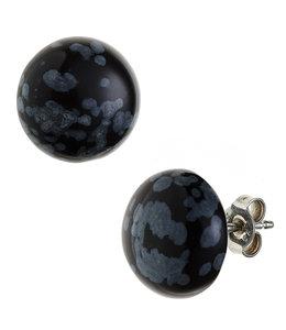 Aurora Patina Zilveren oorstekers obsidiaan ca. 12 mm