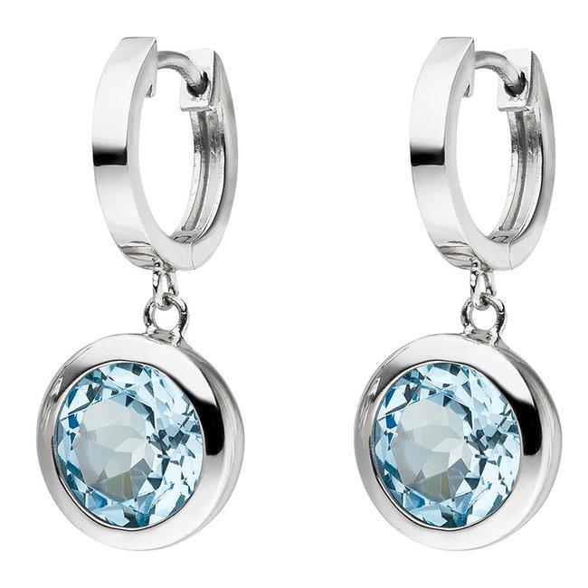 Zilveren oorbellen creolen 925 sterling met blauwtopaas