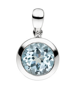 Aurora Patina Silver pendant with blue topaz