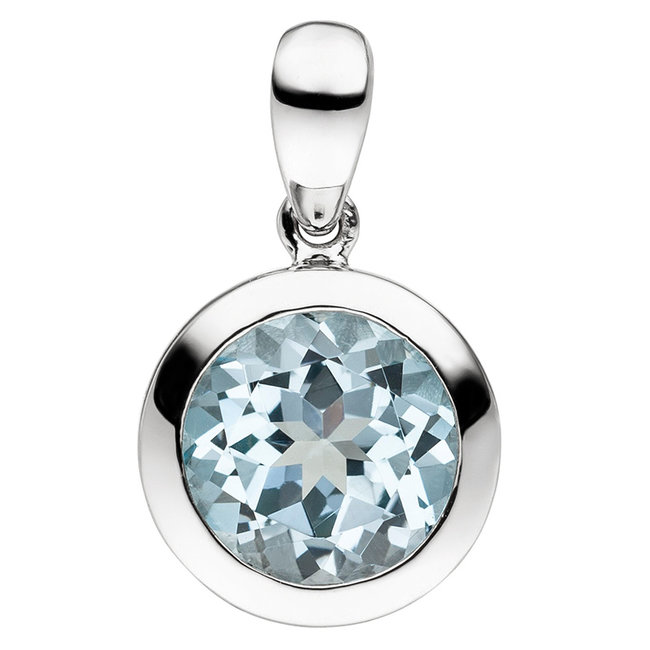 Pendant in 925 sterling silver with blue topaz