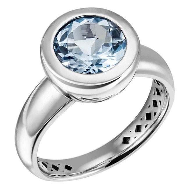 Aurora Patina Zilveren ring met blauwtopaas