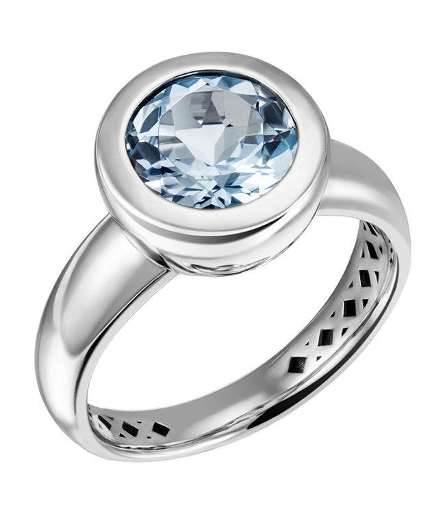 Aurora Patina Ring in 925 sterling zilver met blauwtopaas