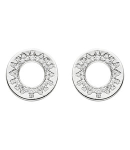 Aurora Patina Round silver earring studs with zirconia