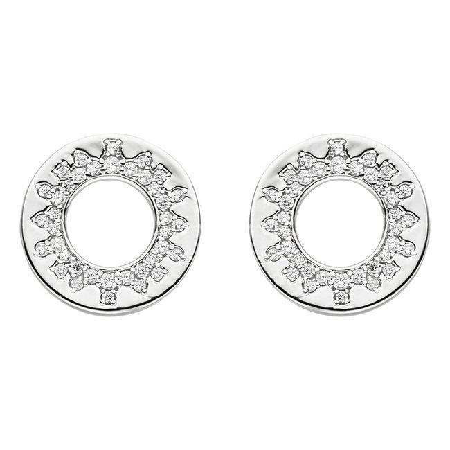 Ronde zilveren oorstekers met zirkonia