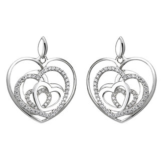 Aurora Patina Silver earring studs with zirconia Hearts