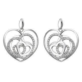 Aurora Patina Zilveren oorstekers met zirkonia Hartjes