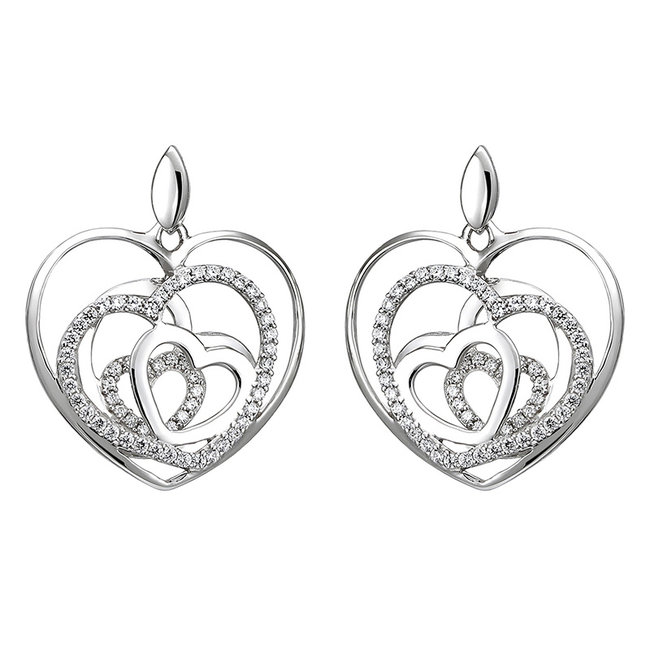Sterling silver earring studs with zirconia Hearts