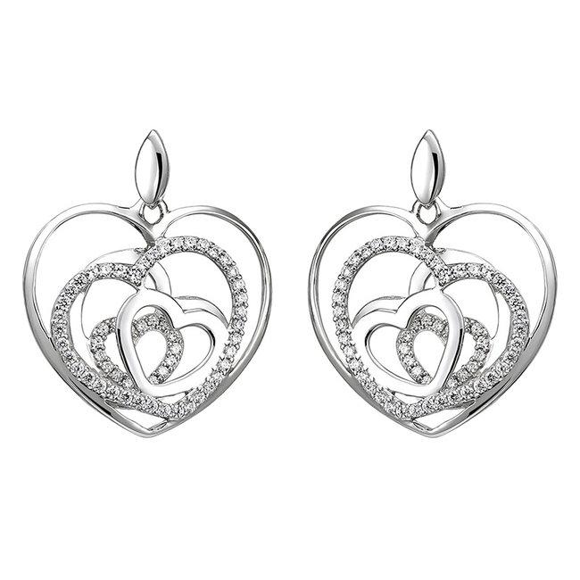 Sterling zilveren oorstekers met zirkonia Hartjes