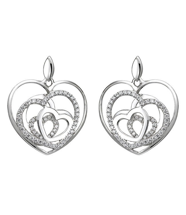 Aurora Patina Sterling silver earring studs with zirconia Hearts