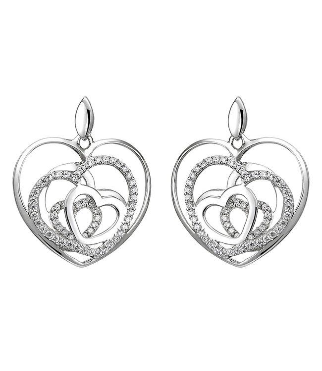 Aurora Patina Sterling zilveren oorstekers met zirkonia Hartjes
