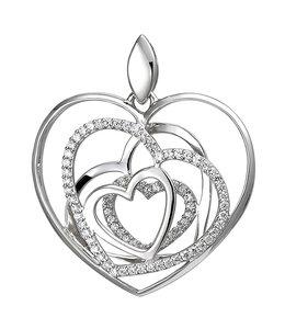 Aurora Patina Silver pendant with zirconia Hearts
