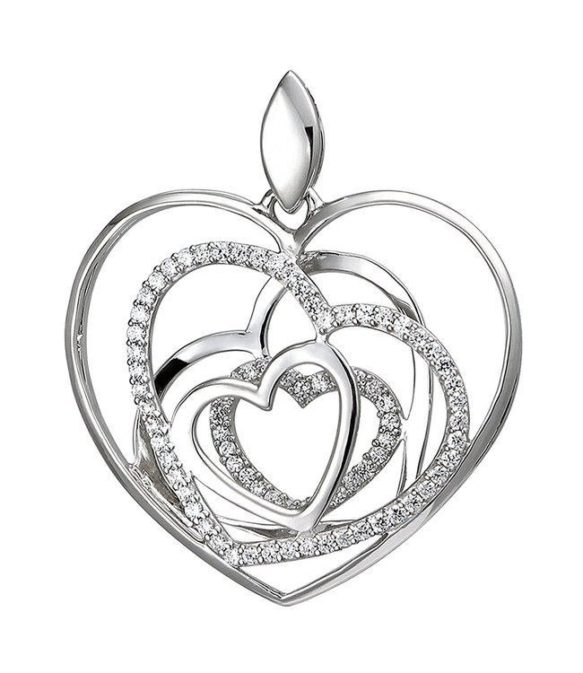 Aurora Patina Sterling silver pendant with zirconia Hearts