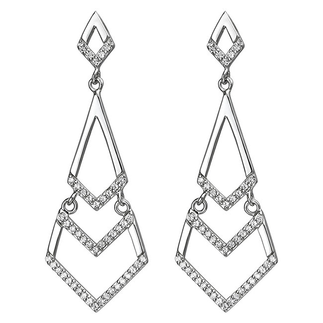 Sterling silver earrings studs with zirconia 45 mm